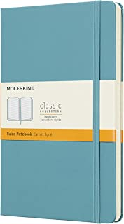 Caderno Clássico, Moleskine, Pautado, Azul Coral, Grande