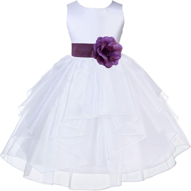White Flower Girl Dress Pigeon Blue Pink Wisteria Red Mercury Gray Black R13S