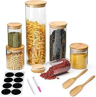 Lot de 6 bocaux de conservation en verre borosilicate avec couvercle en bambou pour grains de café, fruits secs, spaghetti...
