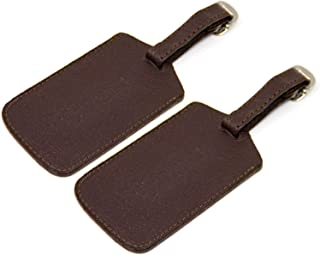 Logical Leather Luggage Tag Genuine Leather Travel ID Tags with Adjustable Leather Strap, Address Card and Privacy Cover, ...