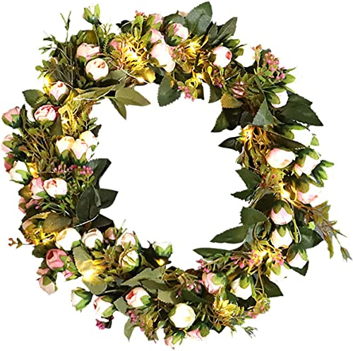 new arrival 12In Valentines Wreath Decoration with Light Handmade Rose Wreath Floral Artificial Garland Wreath Christmas Wreath discount Decoration Ornament high quality for Front Door Wedding Party Decoration with LED Light online