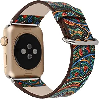 BapUp embroidery Vintage Folk Painting Watch Band Strap for Apple Watch Series 1 2 Leather Bracelet with Connector for 38/42mm