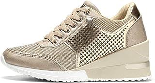 Generic11 Baskets pour Femmes Talon compensé résistant à l'usure Formateurs Creux Peinture de Mode Couture Chaussures de S...