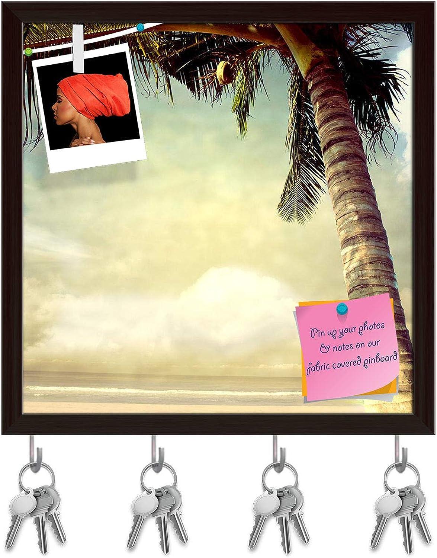 Artzfolio Vintage Palm Key Holder Hooks   Notice Pin Board   Dark Brown Frame 20 X 20Inch