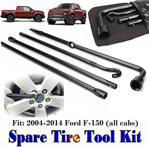 lowest Bowoshen Spare 2021 Tire Tool Kit for 2004-2014 Ford F-150 Direct Replacement Lug Wrench Extension Segments Jack discount Hook Extension Carry Bag, US Stock sale