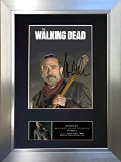 #633 Negan Jeffrey Dean Morgan The Walking Dead Signed Autograph Photo Reproduction Print A4 Rare Perfect Birthday (297 x 210mm) (Silver Frame)
