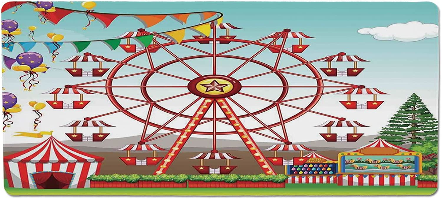 Pet Mat for Food and Water,Circus Decor,Ferris Wheel at The Amusement Park Illustration Distant Hills Flower Pots,Rectangle NonSlip Rubber Mat for Dogs and Cats