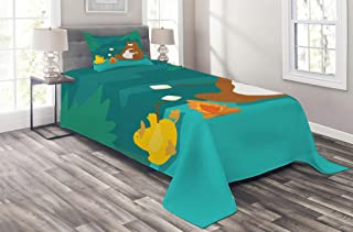 Best Lunarable Camping Coverlet Set Twin Size, Bear and Duck Roasting Marshmallow at Fire Forest Animals Funny Cartoon Characters, 2 Piece Decorative Quilted Bedspread Set with 1 Pillow Sham, Teal Brown Review