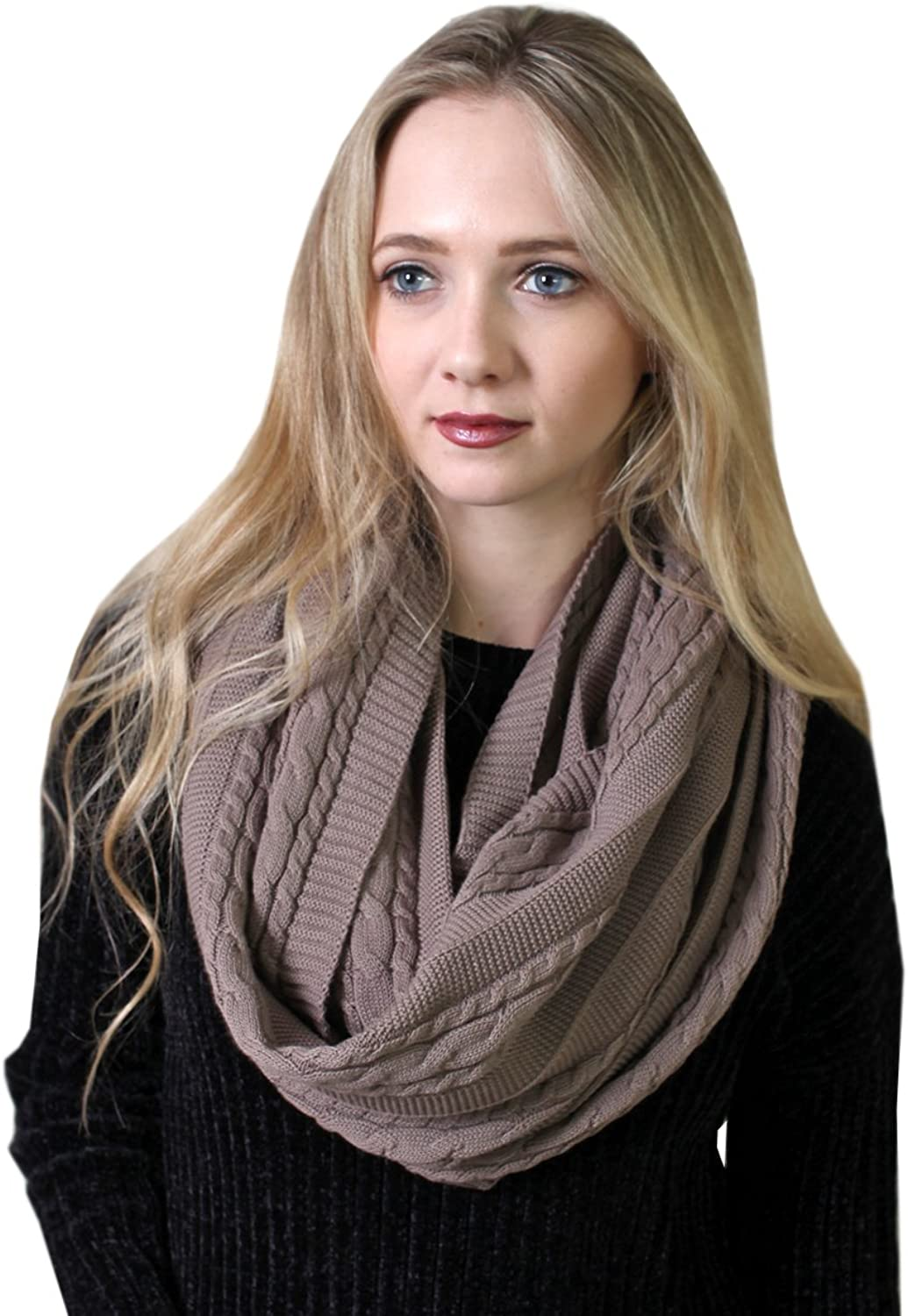 (10 COLORS) 100% Organic Cotton Cable Knit Infinity Scarf, Super Soft Thick Warm Classic NonToxic