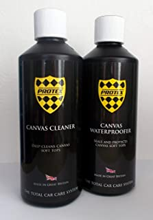 Protex World Convertible Soft Top Care Kit - Canvas Cleaner & Waterproofer 500ml. Use this kit to completely clean and waterproof your 2 seater sized cars canvas soft top. Specially formulated to clean and waterprrof your top, this kit will help prevent the growth of green mildrew, removing everyday dirt and mold. This kit will keep your roof looking like new and is easy to apply giving unbelievable results.