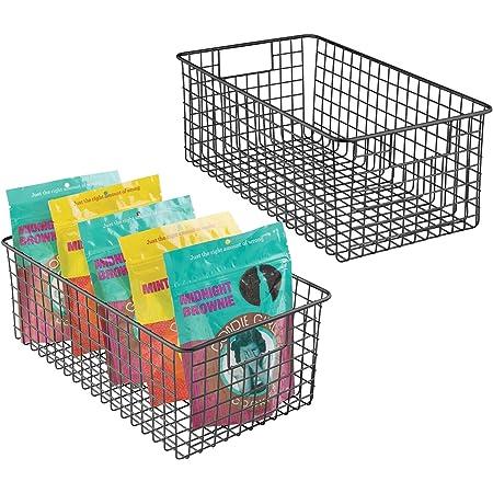 mDesign panier de rangement tout usage (lot de 2) – corbeille de rangement flexible pour la cuisine, le cellier, etc. – panier en métal compact & à usage universel avec poignées – noir mat
