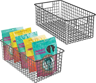 mDesign Set of 2 Wire Storage Baskets - Stylish & Flexible Wire Basket - Compact Wire Bin with Handles - Multi-Purpose Met...
