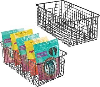 mDesign panier de rangement tout usage (lot de 2) – corbeille de rangement flexible pour la cuisine, le cellier, etc. – pa...