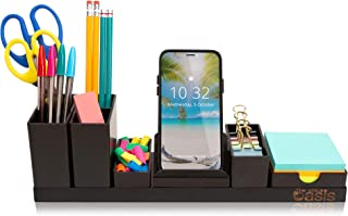 Desk Organizer with Adjustable Pen Holder, Pencil Cup, Phone Stand, Sticky Note Tray, Paperclip Storage, and Office Accessories Caddy, Desktop Organization for Cubicle or Home Office, Black