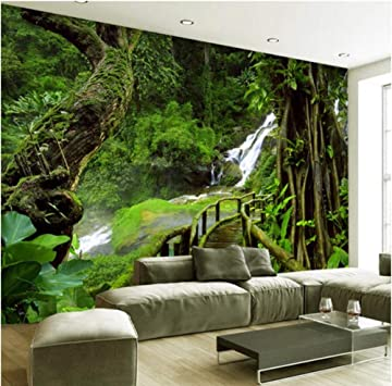 Amazon Com Pbldb 3d Custom Wallpaper Murals Hd Nature Green Forest Trees Rocks Photography Background Wall Painting Living Room Photo Mural 280x200cm Tools Home Improvement