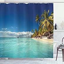 Ambesonne Ocean Decor Collection, Landscape of Paradise Tropical Island Beach with Vivid Sky Crystal Water Palms Hot, Polyester Fabric Bathroom Shower Curtain, 75 Inches Long, Green Blue Cream