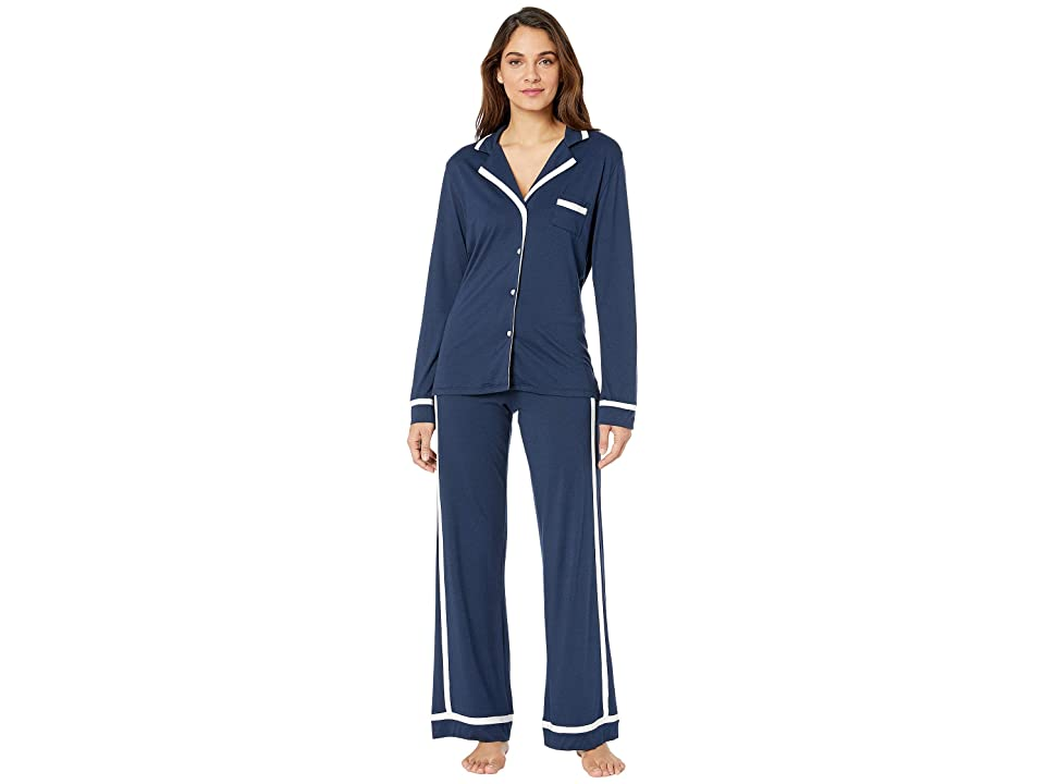Cosabella Plus Size Bella PJ Long Sleeve Top and Pants PJ Set (Navy Blue/Moon Ivory) Women
