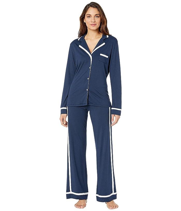 Cosabella Plus Size Bella PJ Long Sleeve Top and Pants PJ Set (Navy Blue/Moon Ivory) Women