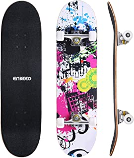 """ENKEEO 32"""" Skateboard Complete 9 Ply Maple Wood Double Kick Concave Skateboards, ABEC-9 Tricks Stake Board for Beginners and Pro"""