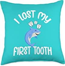 Womens Tooth Fairy Design For Girls and Boys I Lost My First Tooth Fairy Shark Teeth Kids Throw Pillow, 18x18, Multicolor