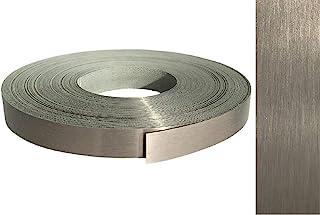 Cubrecantos ABS, 22 mm x 10 m, con adhesivo termofusible, en acero inoxidable VA auténtico cepillado