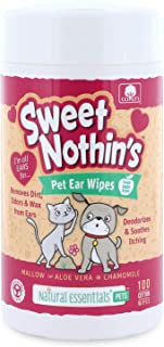 Natural Essentials Sweet Nothin's Pet Ear Wipes, Safe 100% Cotton, 100ct, 1pk