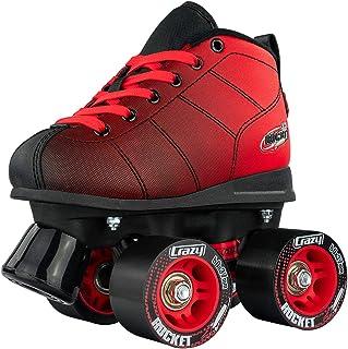 Crazy Skates Rocket Roller Skates for Boys and Girls - Great Beginner Kids Quad Skates - Black and Red Patines