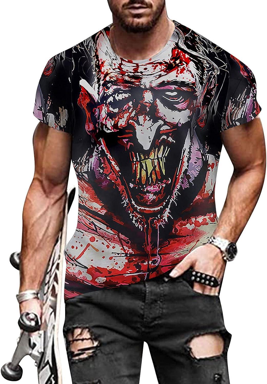 XXBR Halloween T-shirts for Mens, Funny 3D Digital Printed Crewneck Tee Tops Athletic Pumpkin Haunted House Tshirt