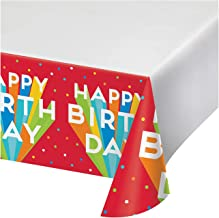 """Creative Converting 352015 Happy Birthday Bash Plastic Tablecloth, 1 ct Green, Blue, Yellow, Orange, and Red, 48"""" x 88"""""""