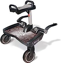 Lascal BuggyBoard Maxi, Kinderbuggy Trittbrett mit großer Stehfläche und Saddle, Kinderwagen Zubehör für Kinder von 2-6 Jahren 22 kg, kompatibel mit fast jedem Buggy und Kinderwagen, schwarz