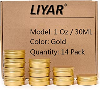 TMO Aluminum Metal Tins 1 Ounce 30ml Round Tin Containers Storage Tins Empty Lip Balm Tins Metal Jars with Screw lids,Gold(Pack of 14)