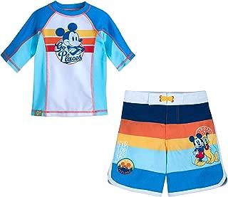 Mickey Mouse & Friends Boys Swim Trunks and Rash Guard Set (Toddler/Little Kid/Big Kid) UPF 50+ Sun