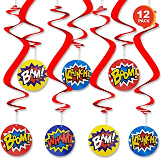 ArtCreativity Superhero Dangling Swirls, Pack of 12, Super Hero Hanging Room Décor with Assorted Designs, Baby Shower and Birthday Party Supplies, Reusable Ceiling Decorations, Party Decorations