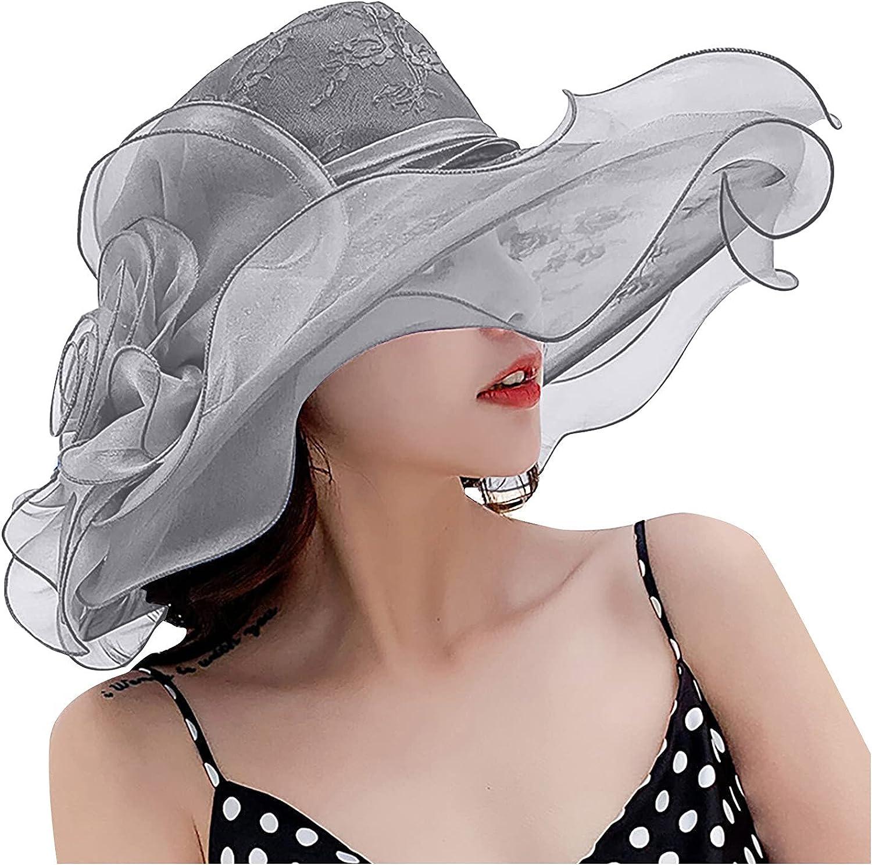 Women's Organza Church Kentucky Derby Hat Feather Fascinator Bridal Tea Party Travel Sun Hat Fancy Wedding Hat