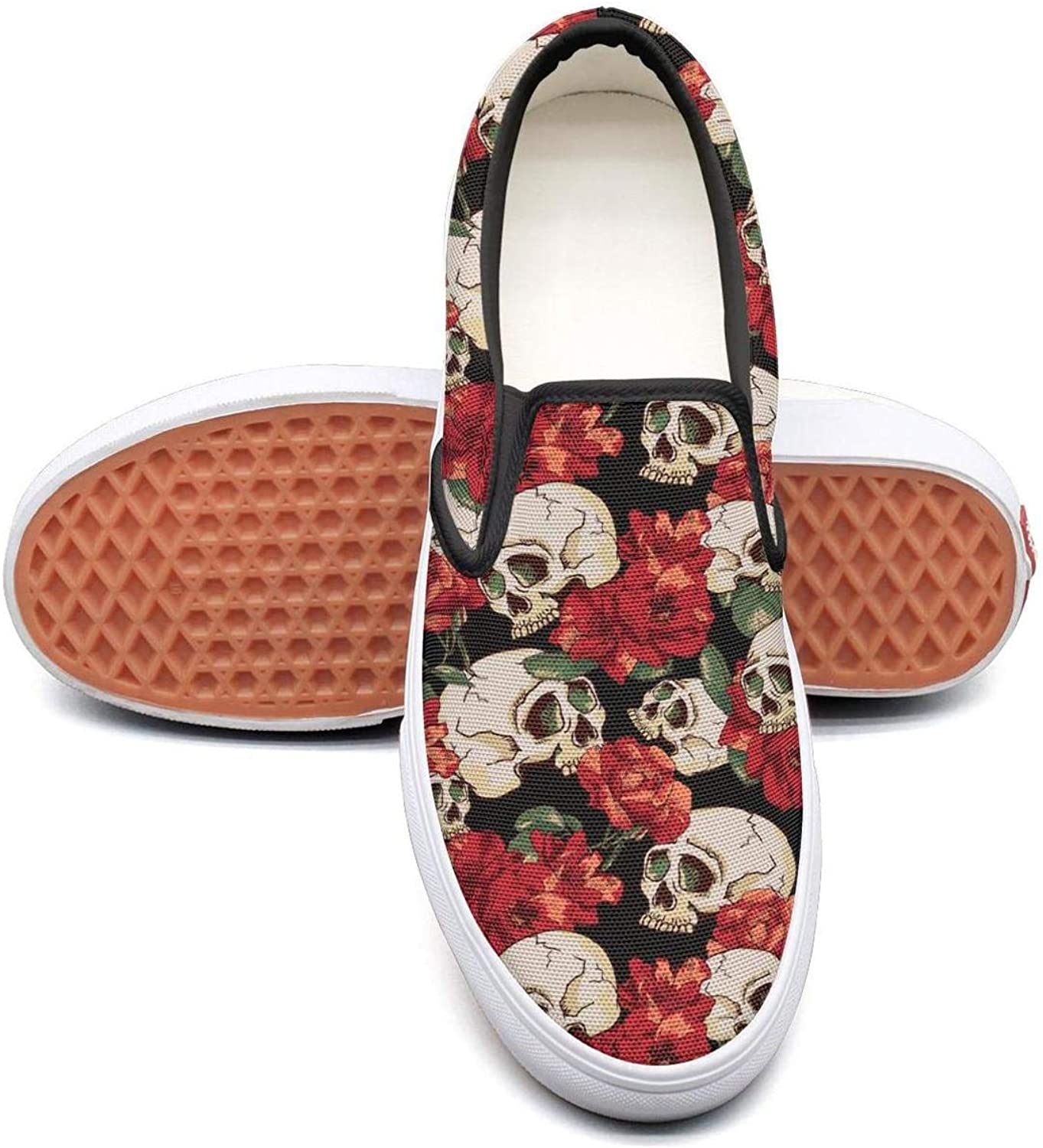 Candy Skull Slip On Superior Comfort Sneakers Canvas shoes for Women Fashion