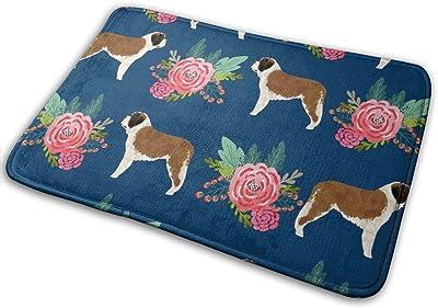 """Saint Bernard Dog Breed Pattern Floral Bouquet_18050 Doormat Entrance Mat Floor Mat Rug Indoor/Outdoor/Front Door/Bathroom Mats Rubber Non Slip 23.6"""" X 15.8"""""""