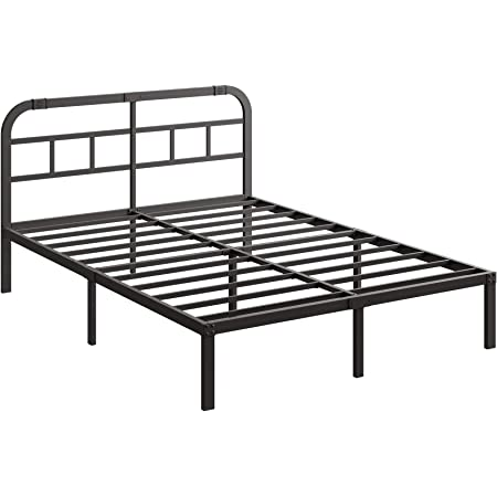 14 Inch Heavy Duty Queen Metal Bed Frame with Headboard,Modern Look Clean Lines Bed Platform,Noise Free&Anti-Slip Iron Bed Foundation,No Box Spring Required,Weight Capacity 1200lbs(2021 Upgraded)