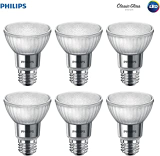 Philips LED 471144 50 Watt Equivalent Classic Glass PAR20 Dimmable LED Flood Light Bulb (6 Pack), 6-Pack, Bright White, 6 Piece