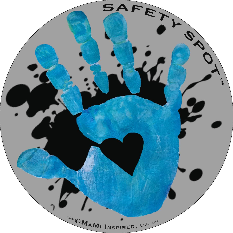 Safety Spot Magnet - Kids Handprint for Car Parking Lot Safety - Gray Background with Splat (Blue)