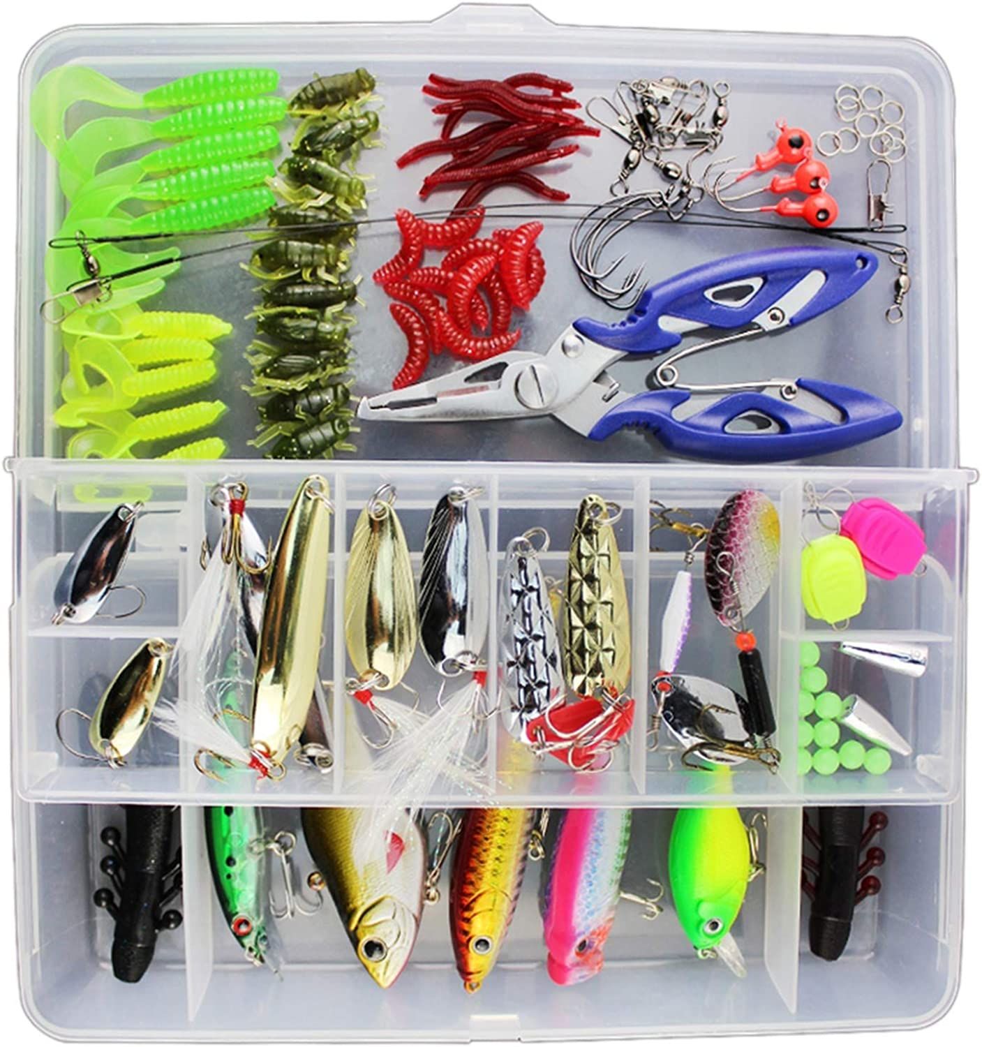 73 101 132Pcs Fishing Lures Set Mixed Minnow Popper Fish Lure Box Spinner Spoon Artificial Bait Kit