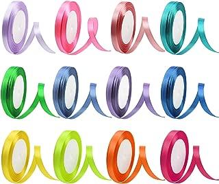 Cinta de raso de 12 colores 300 yardas Rollo de cinta para manualidades Tela de regalo Cinta para arcos Regalos Fiesta de cumpleaños Bodas Scrapbooking Decoración Arreglos florales