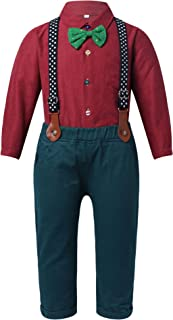 Nimiya Kids Boys 3PCS Long Sleeve Button Closure Shirt with Bow Tie Suspender Straps Pants Party Set