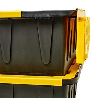 Homz 15 Gallon Tough Flip Lid Plastic Storage Container, Black and Yellow, (Pack of 6)