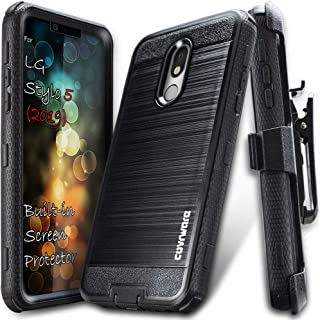 COVRWARE LG Stylo 5 case, [Iron Tank Series] Cover with [Built-in Screen Protector] Heavy Duty Full-Body Rugged Holster Armor Case (Brush Metal Texture Design) [Belt-Clip] [Kickstand], Black