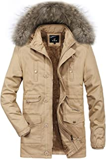 Jueshanzj Men's Outdoor Cotton Lined Jacket with Hood