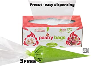 Piping Bags Disposable 200 Pack - 12 Inch Cake Decorating Pastry Bag Set in Dispenser box, With 3 Free Icing Bag Ties. Extra Thick Frosting Bags Microwave safe by CiE