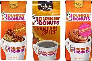 Dunkin Donuts Ground Coffee Variety Pack of 3 Flavors - Pumpkin Spice, Caramel Coffee Cake, & Cinnamon Coffee Roll - 33 oz Total - 100% Premium Arabica Coffee