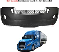 Freightliner New Cascadia Full Front Bumper Set a21-28979 with Bumper Air Flow Deflectors Set 21-28988-000 21-28988-001 21-28991-000| Fog Lamp Hole | Chrome Stripe