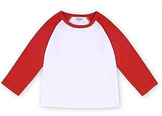 CREATOR Toddler Baby Girls Boys Long Sleeve Shirts Raglan Shirt Baseball Tee Cotton T-Shirt (Red, 1-2 Years)