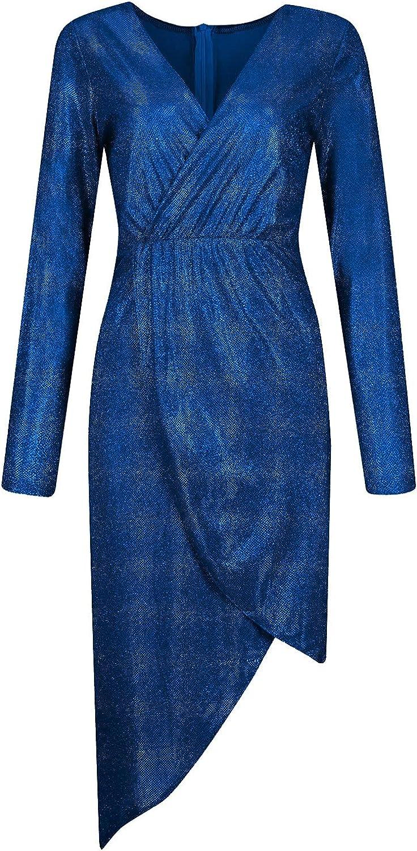 Women's Hot Stamping Dress Long Sleeve V-Neck Sexy Maxi Dress